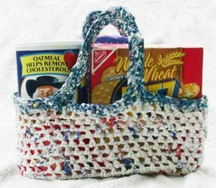 crochet market shopping bag from reuse recycle old shopping grocery bag